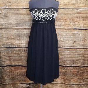 Vivienne Tam Black & White Strapless Dress sz 6